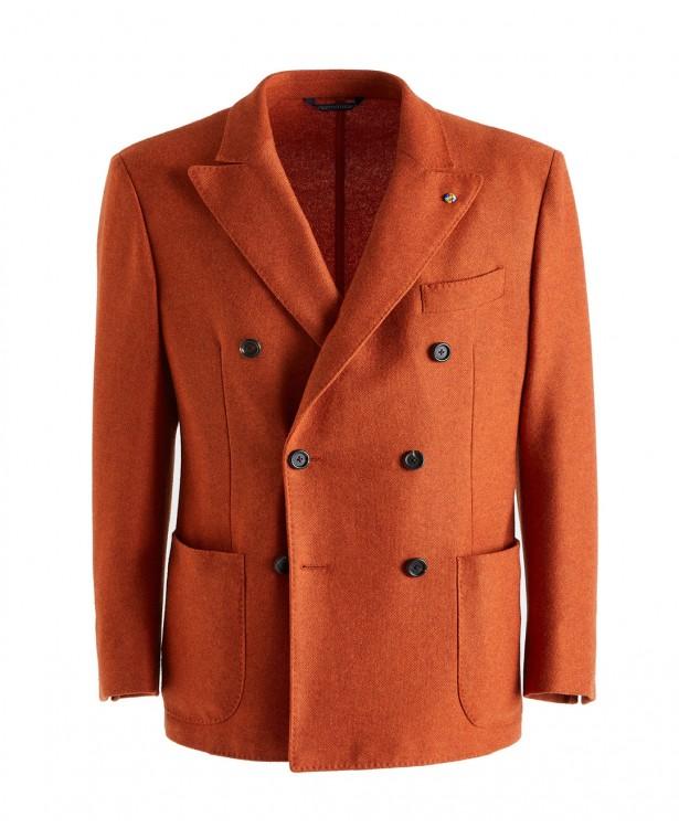 Giacca jersey arancione in cashmere |...