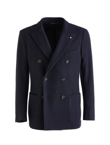 Navy blue jersey jacket in...