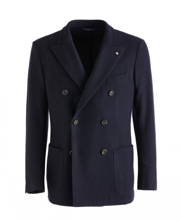 Navy blue jersey jacket in cashmere  ...