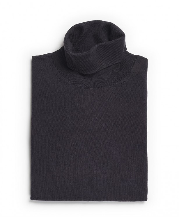 Gray turtleneck sweater in cotton and...