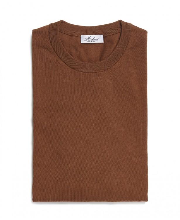 Tobacco crew neck sweater in cotton...