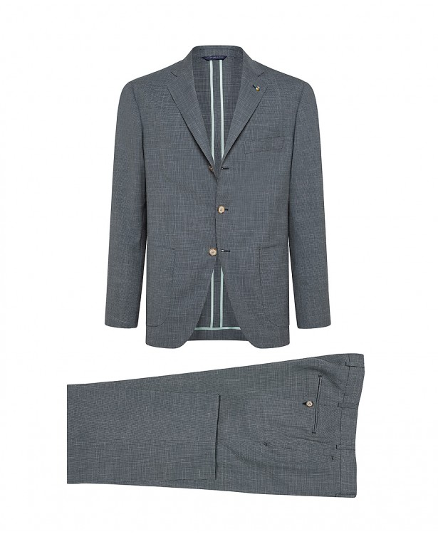Green wool-blend tailored suit |...
