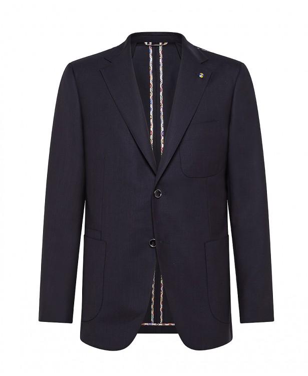 Navy blue wool tailored travel jacket
