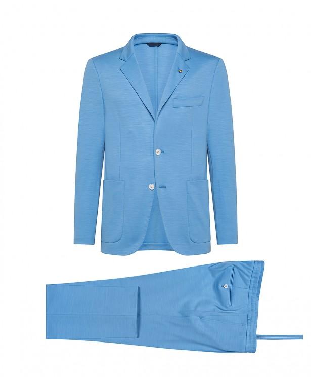 Abito sartoriale jersey azzurro in lana