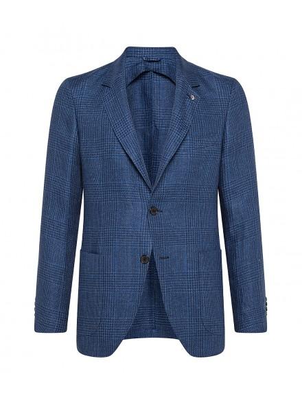 Giacca sartoriale blu in lino