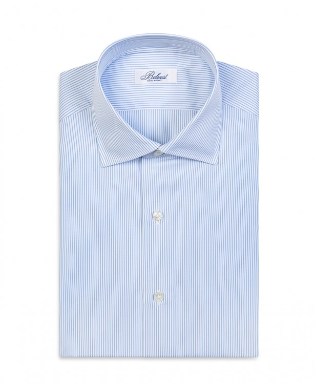 White and light blue striped pure...