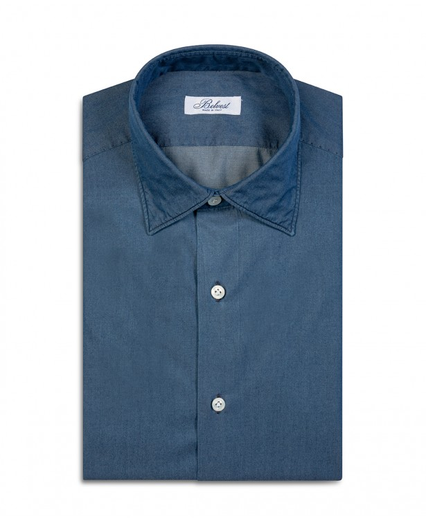 Camicia sartoriale blu in puro cotone