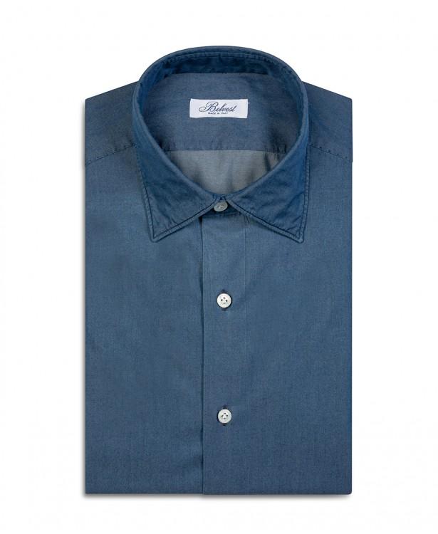 Blue pure cotton tailored shirt