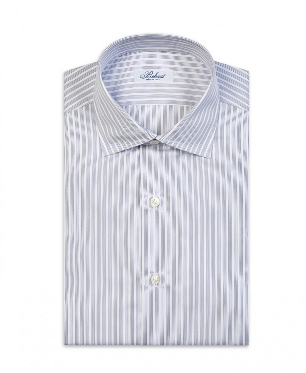 White and blue striped pure cotton...