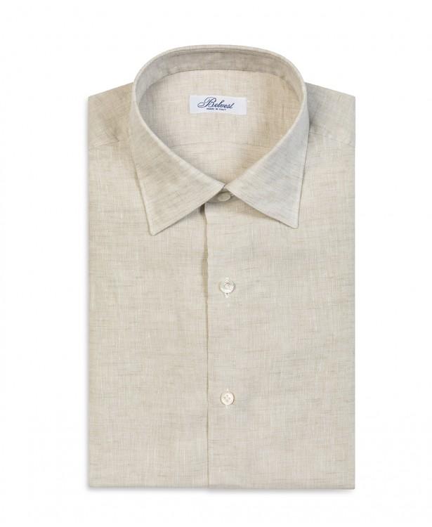 Camicia sartoriale sabbia in lino