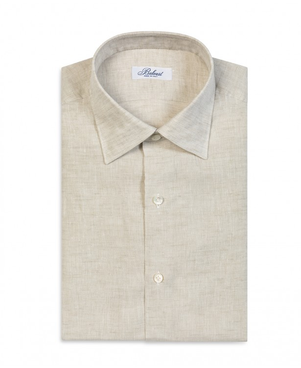 Sand colored linen tailored shirt
