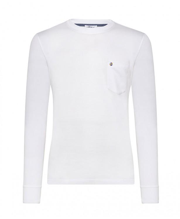 White cotton crew-neck sporty t-shirt