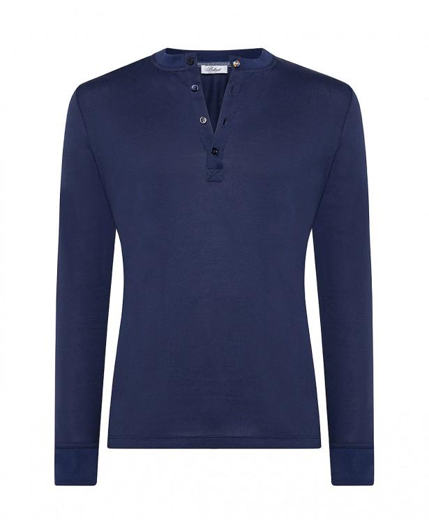 Blue cotton henley summer t-shirt