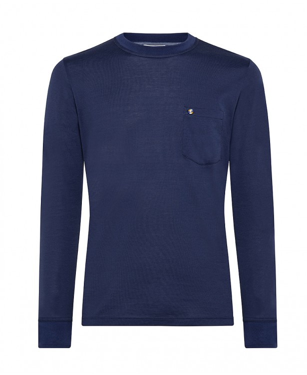 Blue cotton crew-neck spring t-shirt