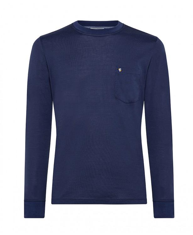 T-shirt primaverile girocollo blu in...