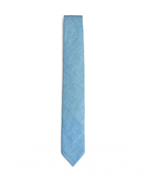 Cravatta primaverile azzurra in cotone