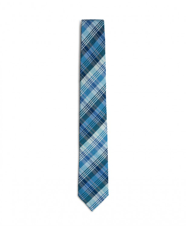 Light blue and blue cotton spring tie