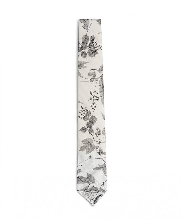 Cravatta estiva bianca e nera in cotone