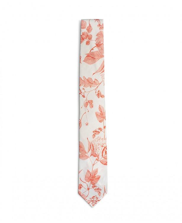 Cravatta estiva bianca e rossa in cotone