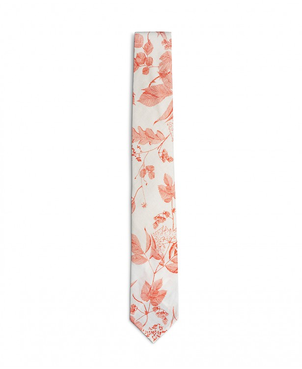 Red and white cotton summer tie