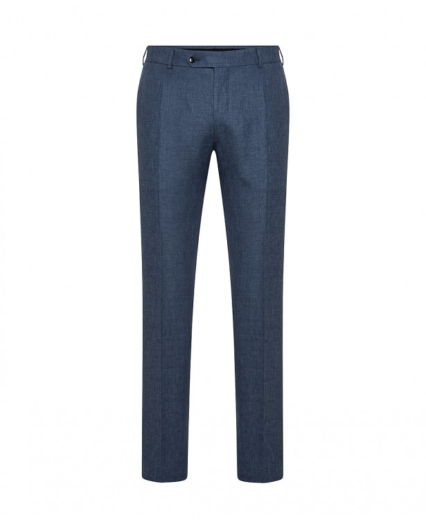 Blue wool-blend spring trousers