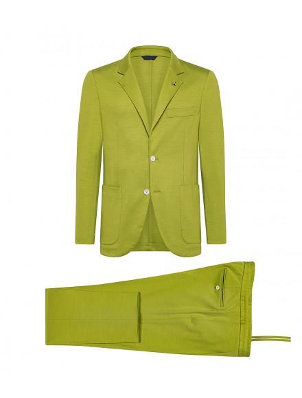 Sporty green wool jersey suit