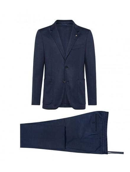 Blue light wool jersey suit