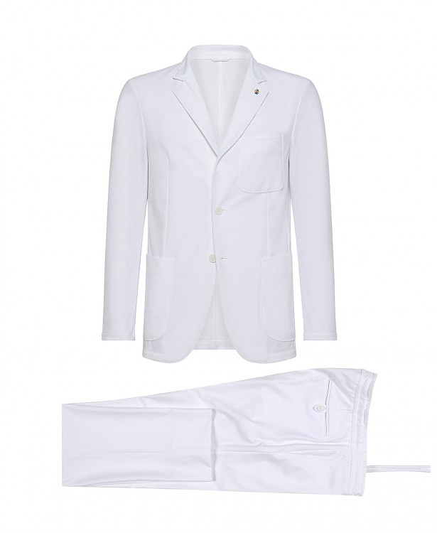 White polyamide-blend tailored suit