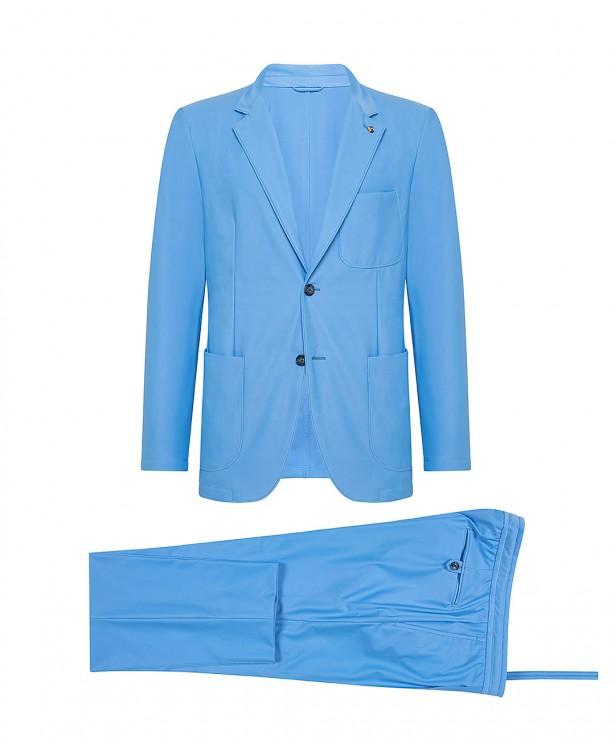 Sporty light blue polyamide-blend suit