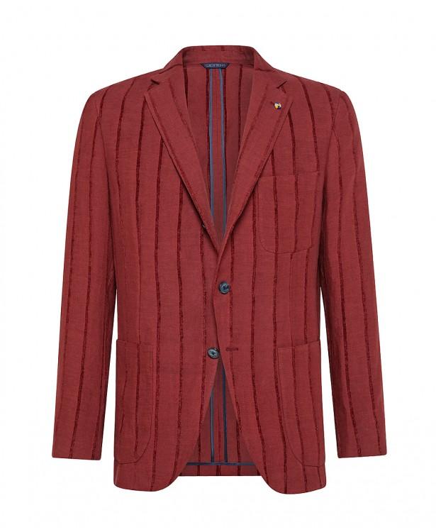 Giacca sartoriale rossa in lino  ...