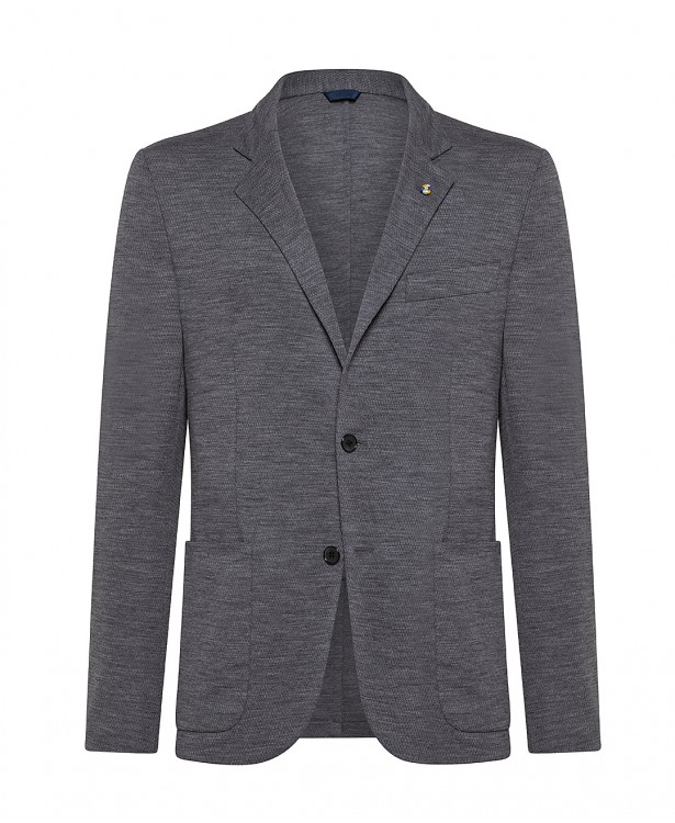 Grey Super 120s wool jersey spring...