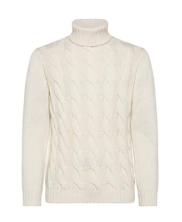 Maglia a collo alto bianca in cashmere