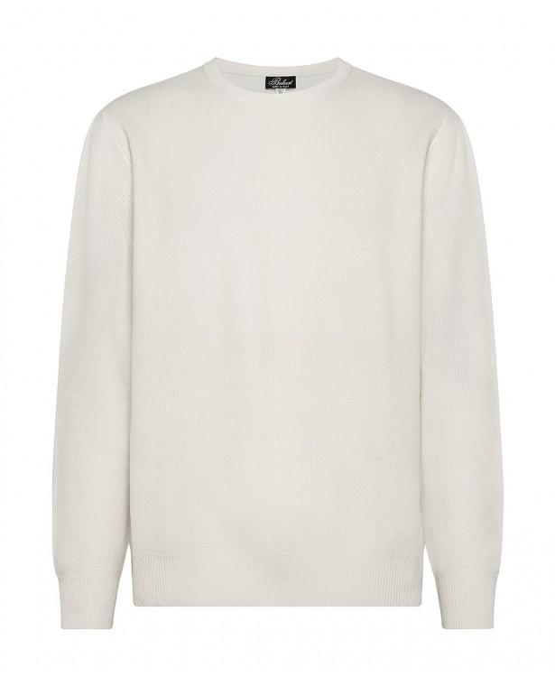 Cream-colored cashmere crewneck sweater