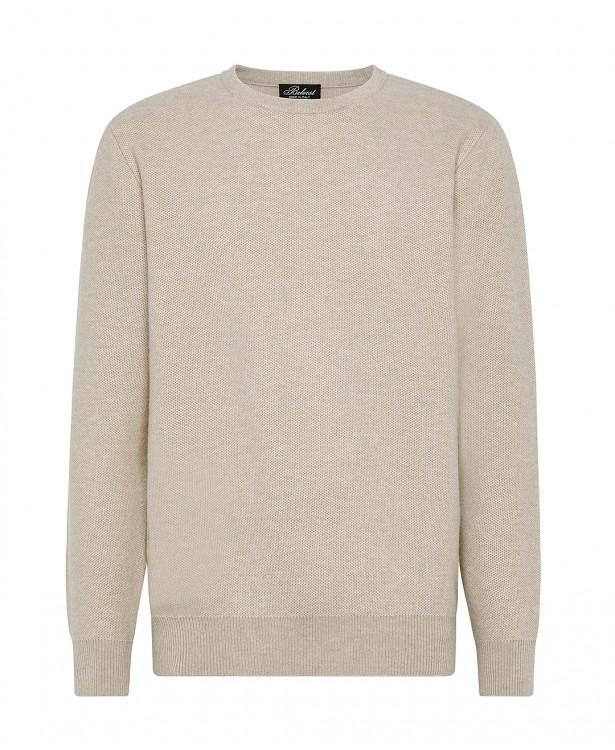 Sand-colored cashmere crewneck sweater