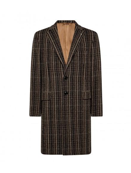 Cappotto marrone in lana e...