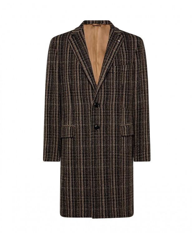 Brown coat in wool and cashmere with...