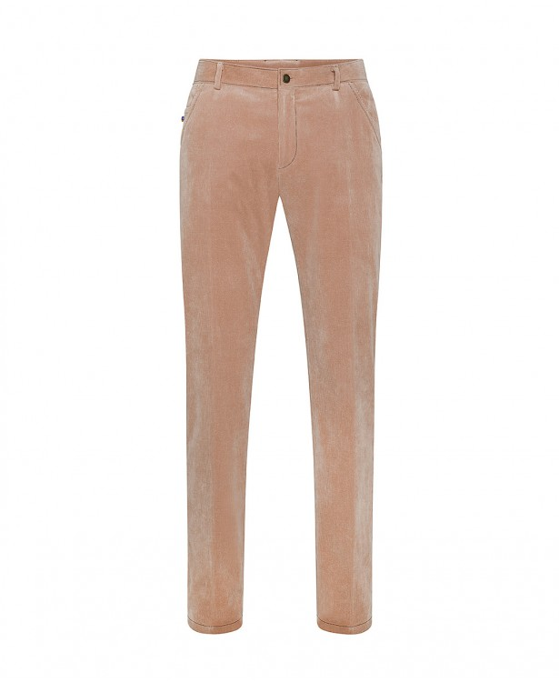 Salmon-colored corduroy trousers