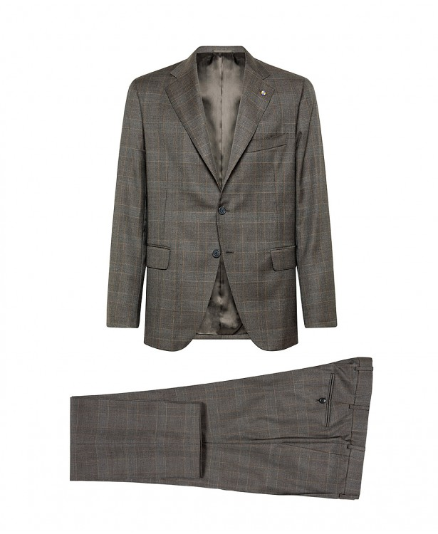 Brown Prince of Wales check suit in...