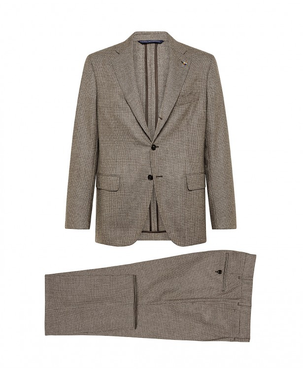 Brown wool houndstooth check suit  ...