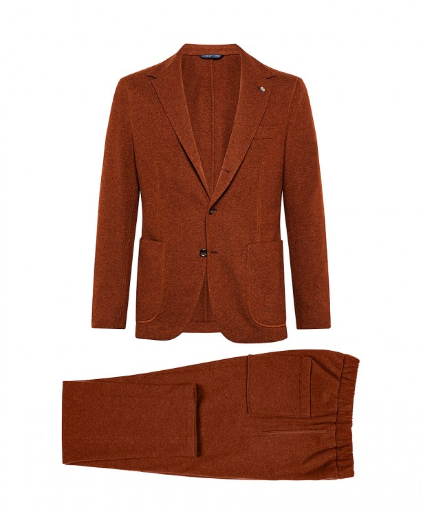 Brick-colored jersey suit in wool and...