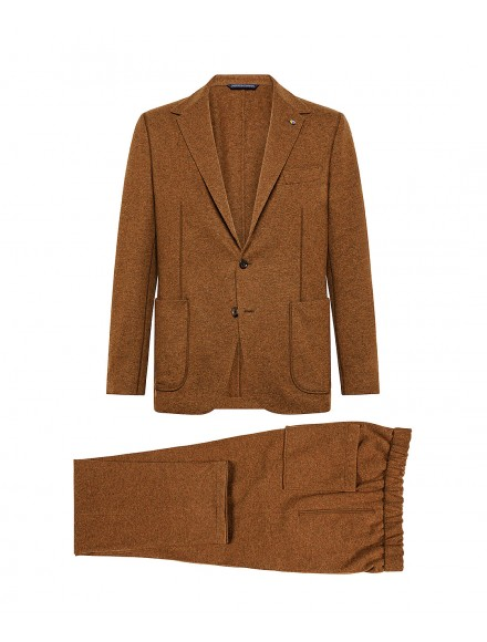 Tobacco-colored jersey suit...