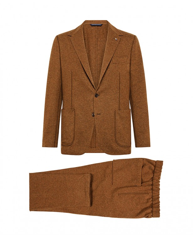 Tobacco-colored jersey suit in wool...