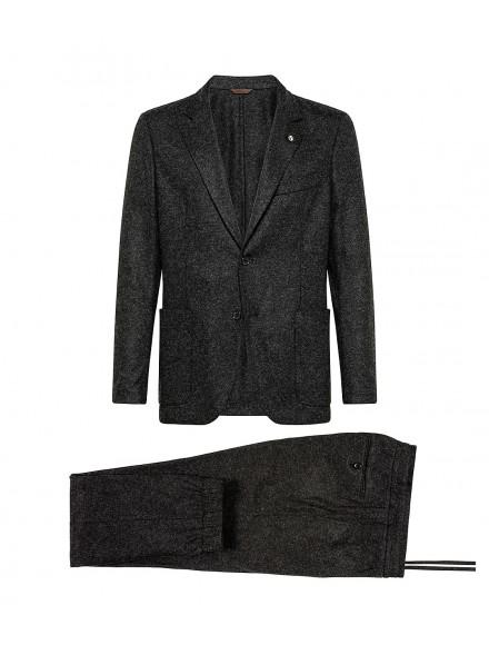 Dark gray jersey suit in...