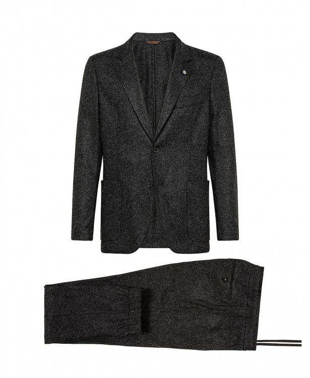 Dark gray jersey suit in wool and...