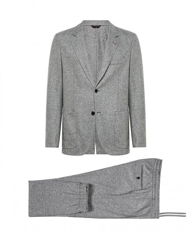 Abito jersey grigio chiaro in lana e...