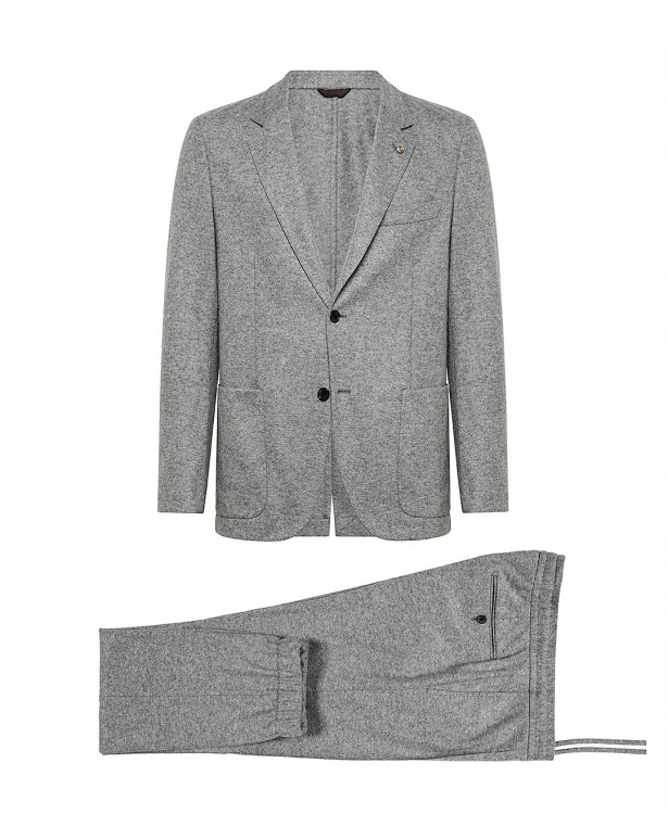 Light gray jersey suit in wool and...