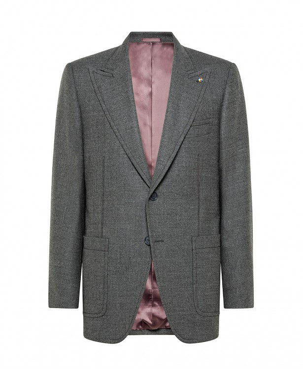 Gray tailored jacket in wool and...