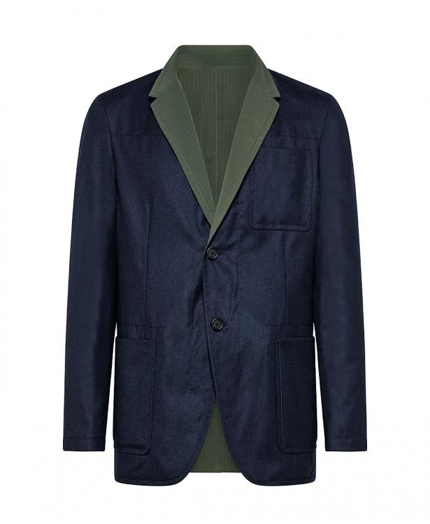 Giacca reversibile blu/verde in lana...