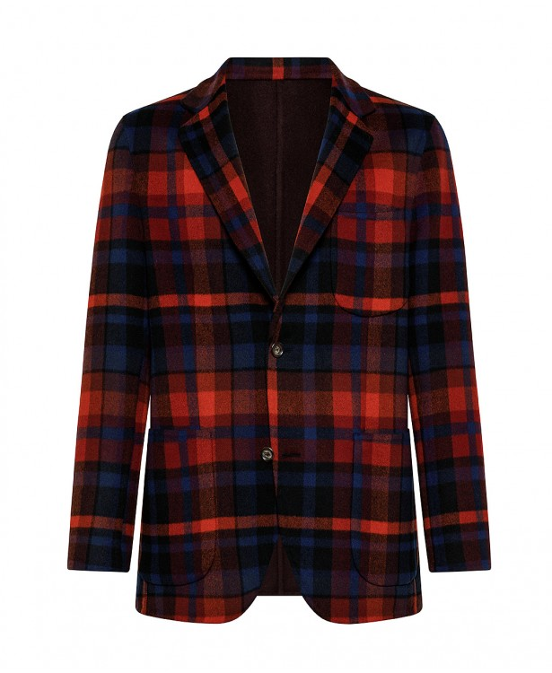Reversible red and blue/brown jacket...