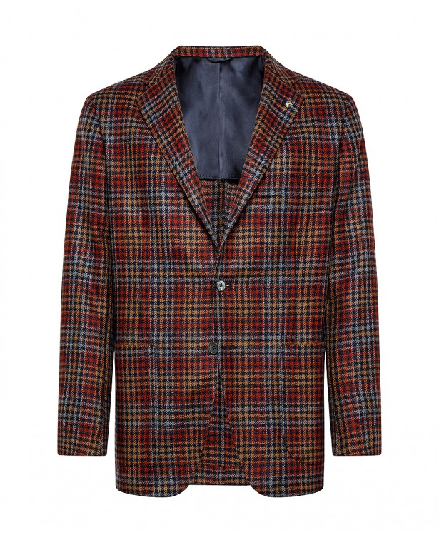 Red and blue jacket with houndstooth...
